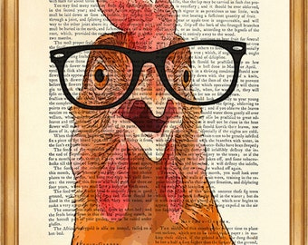 DICTIONARY art PRINT Chicken Print on Vintage Dictionary Page 8'' x 10'' from Antique Book