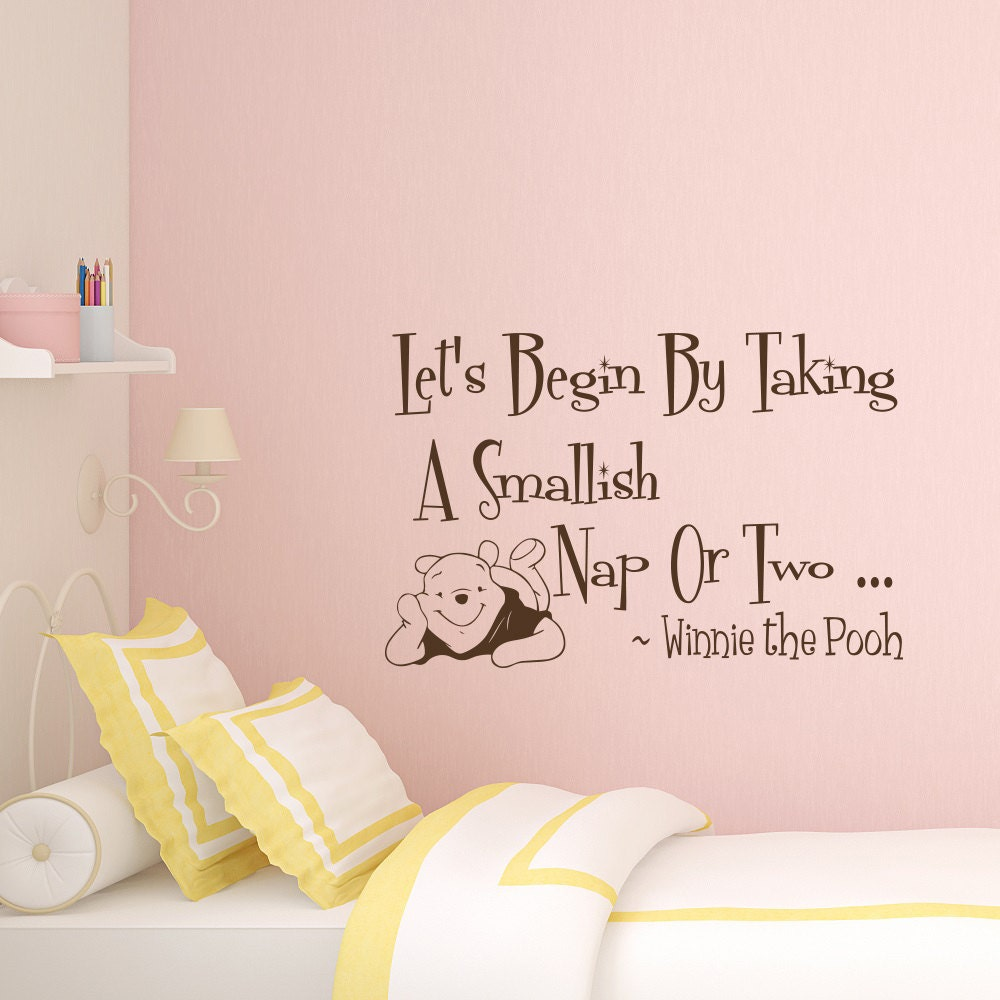 Wall decal quote winnie the pooh decal lets begin by zoom amipublicfo Images