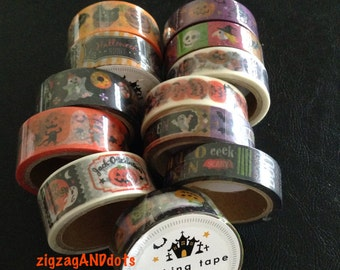 Halloween Washi Tape, Masking Tape, Decorative Tape, Halloween Theme Tape, Various Designs, Scrapbooking, Cardmaking, Your Choice of 1 Pack