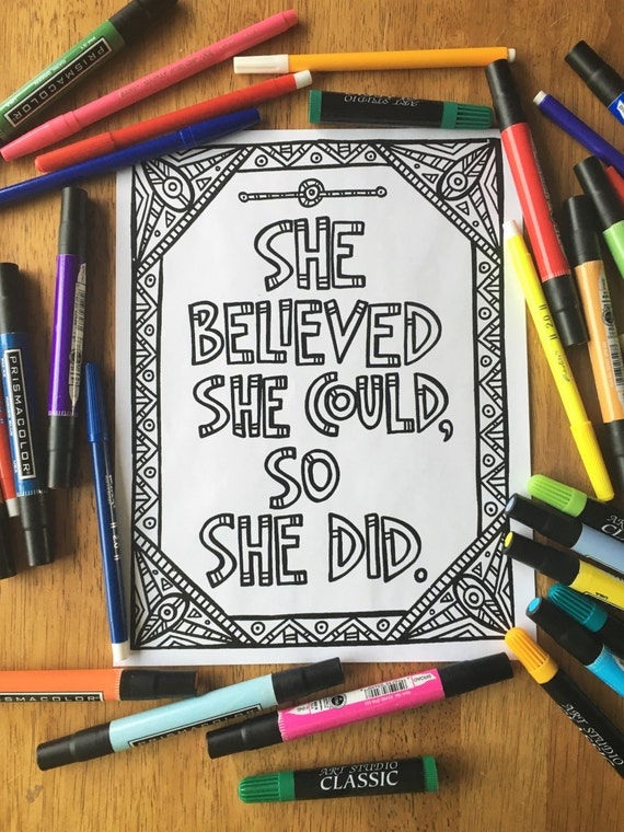 Printable Coloring Page She Believed