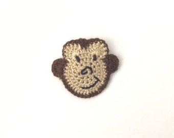 Crochet Monkey Applique | Monkey Embellishment | Monkey Motif