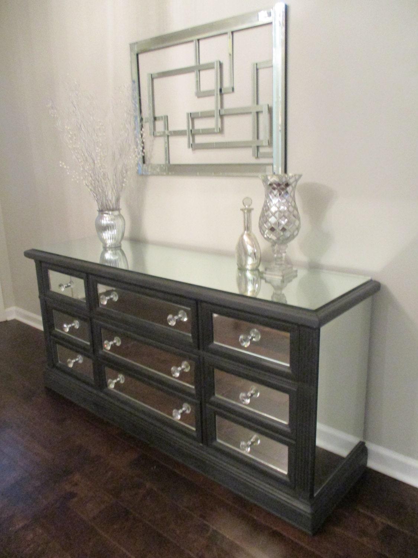 Mirrored Dresser Graphite With Trim Classic 9 Drawer Mirror