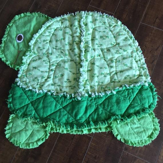 Turtle Rag Quilt New Baby Boy Gift Green Flannel Baby Blanket