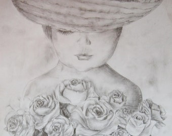 Girl with rouses -  Pencil Drawing