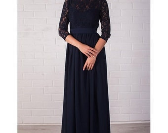 Long Evening Dress Navy Blue, Lace Formal Dress, Bridesmaids.