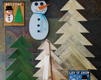 Rustic Christmas Tree, Pallet Wood Christmas Tree, Herringbone Pattern Christmas Tree, Rustic Holiday Decorations, Rustic Home Decor