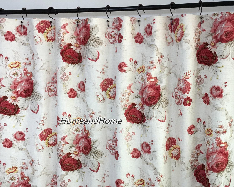 Custom Fabric Shower Curtain High End Designer Waverly Norfolk