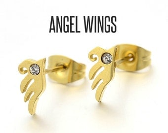 Gold Angel Wing Stud Earrings, Angel Wing Earrings, Angel Wing Jewelry, Gold Angel Wing earrings, Angel Earrings, Gold Wing