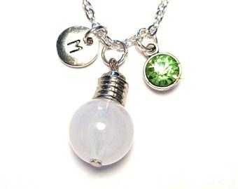 Lightbulb Necklace, Lightbulb Charm, Lightbulb Pendant, Lightbulb Jewelry, Light bulb Necklace, Light bulb Charm, Electrician Necklace