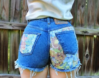 "Floral Shorts High Waisted Cutoff Shorts Denim 28"" Waist"