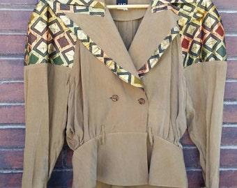 VINTAGE 80's suit jacket//suede material