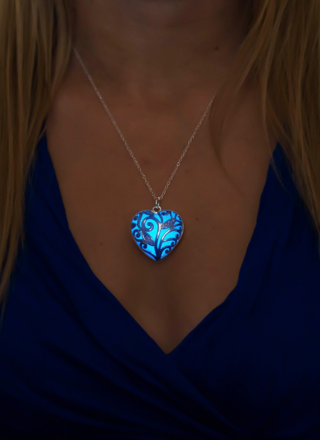 blue glow necklace blue jewelry blue necklace gift for