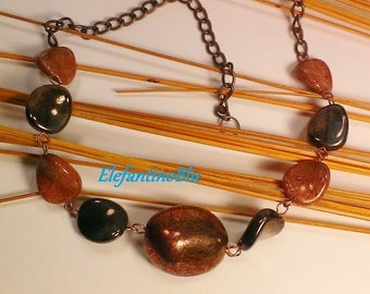 Copper necklace with gold bronze glass beads, copper and red gold, handmade and unique