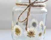flower mason jars flowers, daisy tea light holder, daisy mason jar, daisy candle holder, daisy light, daisy wedding light, wedding tealight