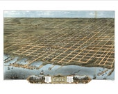 """Erie Pennsylvania in 1870 Panoramic Bird's Eye View Map by Ruger & Stoner 22x16"""" Reproduction"""