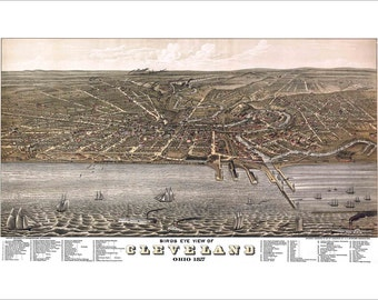 """Cleveland Ohio in 1877 Panoramic Bird's Eye View Map by J. J. Stoner 22x15"""" Reproduction"""