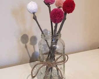 VALENTINE'S - Set of FIVE yarn pom pom flowers with twig stems for centerpieces and party decorations