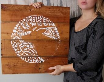 negative space elk, original reclaimed wood art