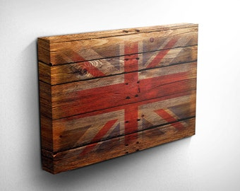Union Jack Canvas Art, Wood Effect, Gift Idea, Inspirational Art, UK Flag Canvas