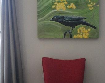 Original acrylic painting of blackbird