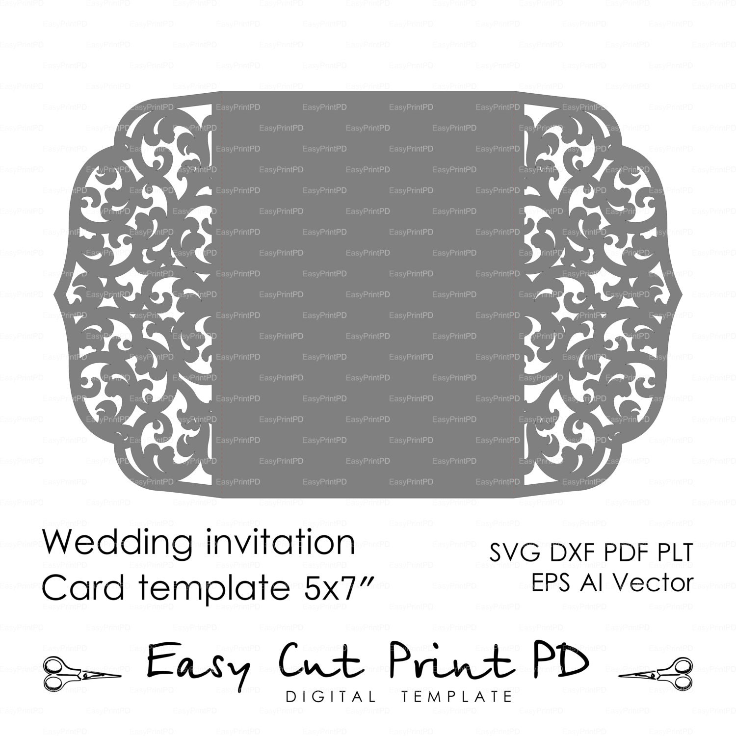 Invitation Card Template Video: Wedding Invitation Pattern Card 5x7 Template By EasyCutPrintPD