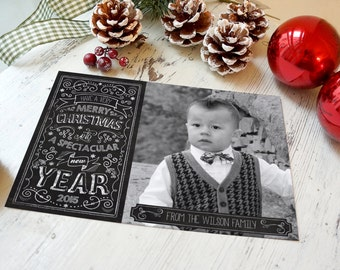 Chalkboard Christmas Card, Christmas Cards, Holiday Cords, Chalkboard Style, Photo Christmas Card