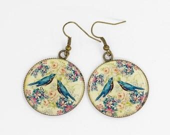 White earrings Blue earrings Bird earrings Flower jewelry Statement earrings Boho jewelry Gift for her birthday gifts for girlfriend gift