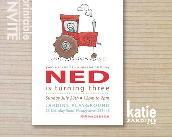 red tractor  - kids invitation - boys invitation - little farmer - childrens invitation -  printable invitation - farm tractor