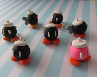 Mario Bob-omb Polymer Clay Figurine