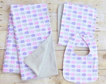 Elephant Blanket, Bib & Burp Cloth Set, Pink Elephant Baby Shower, Elephant Nursery, New Born Elephant, Purple Elephant Bib, Pink and Purple