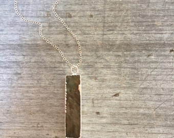 Labradorite Bar Necklace - Labradorite Necklace - Bar Necklace - Labradorite Bar - Gift under 35 - Unique Gift - Vertical Bar Necklace