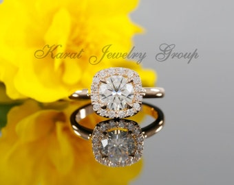 7mm Forever Brilliant Moissanite Halo Engagement Ring with Diamonds in 14k Rose Gold ( available in white gold, yellow gold and platinum)