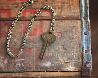 Wedding, Anniversary Key Necklace | hand stamped husband wife boyfriend girlfriend gift