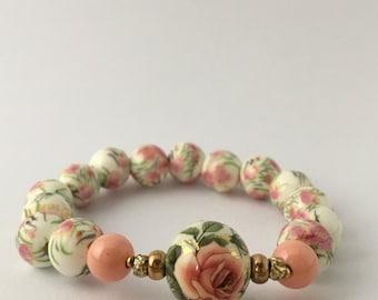 PINK ROSE, ceramic beaded bracelet, tensha beaded bracelet
