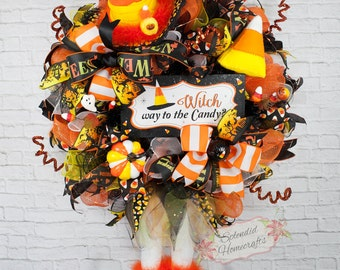 Witch Wreath, Light up Wreath, Candy Corn Witch Wreath, Halloween Wreath, Witch Hat with Legs, Witch Mesh Wreath, Witch way to the Candy