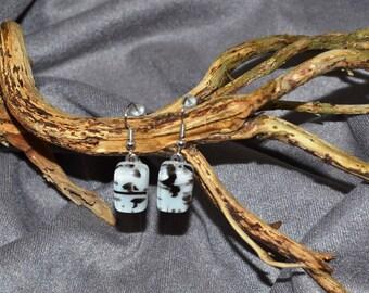 """fused glass black and white """"pepper"""" earrings, handmade, kiln fired"""