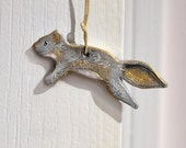 Grey Squirrel Ornament, Primitive Polymer Clay Wild Animal Hanging Sculpture, Cute Nature Theme Gift Topper, Neutral Colors, Grey and Gold