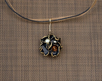 Small Round Abstract Black and Gold Truffle and Nested Bead Pendant, Polymer Clay Hand Sculpted Jewelry, Fall Necklace