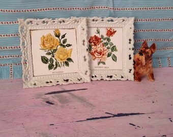 Vintage Wall Decorations Napcoware Tiles Wall Plaques Two Ceramic Tiles Framed White Tiles Decorated Flower  Wall Tiles National Potteries