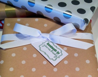 Christmas Gift Tag/Handmade By - Green and White - Set of 6