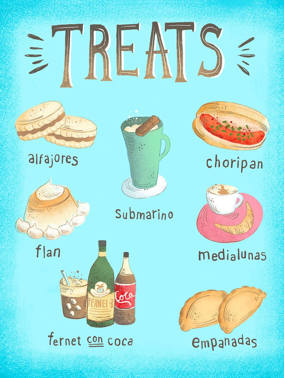 11x14 colorful treats food from argentina art print for Artistic argentinean cuisine