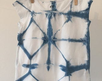 Shibori T-Shirt - Indigo Blue White - 1.5-2yrs