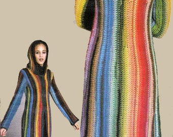 Crochet Sweater Coat Rainbow Hooded Long Hoodie Vintage Pattern Crochet in Easy Single Crochet Stitches in Ombre Effect PDF