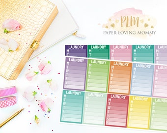 20 Laundry Sidebar Stickers | Planner Stickers designed for use with the Erin Condren Life Planner | 1115