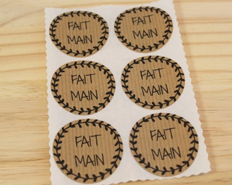 Lot of 12 labels self-adhesive gift - decals - kraft - handmade