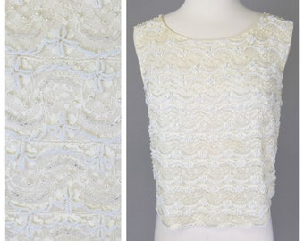 Vintage, 50s, 20s Inspired, White, Lace, Beaded, Silk Blouse // 1950s, Retro Bride, 1920s, Gatsby Costume, Womens Size Small, Medium