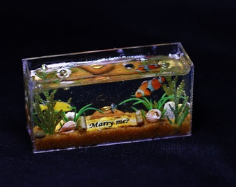Miniature aquarium, Marriage proposal, will you marry me, proposal, marry me
