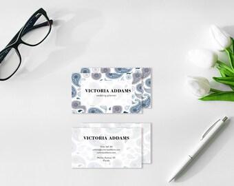 Paisley Design, Business Card Design, Calling Cards, Printable Cards, Modern Business Card, Elegant Card, Contact Card, Elegant Card