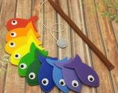 Rainbow Felt Magnetic Fishing Game, Kids Magnet Fishing Set, Eco friendly game for imaginative play, felt fish, rainbow fish, quiet toy