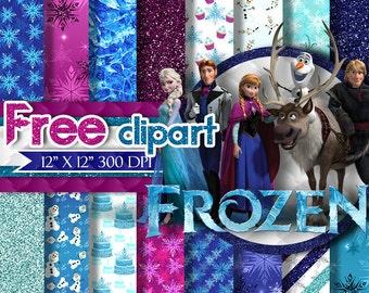 Frozen Digital Paper Clipart Clip Art, Anna elsa Olaf Ice Queen Princess